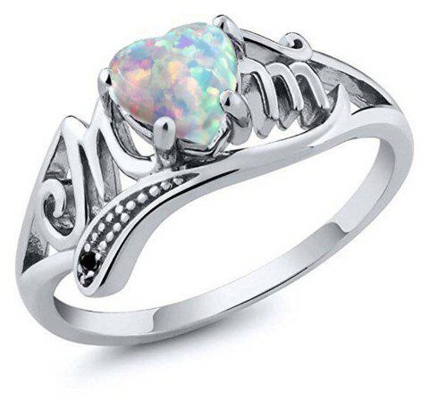 Artificial Diamond Heart Ring - PASTEL BLUE US SIZE 6