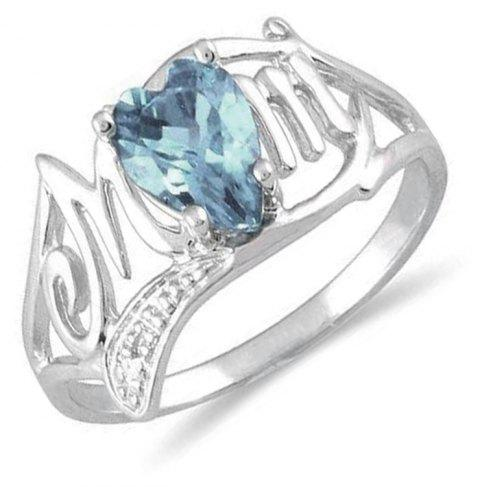 Artificial Diamond Heart Ring - DEEP SKY BLUE US SIZE 7