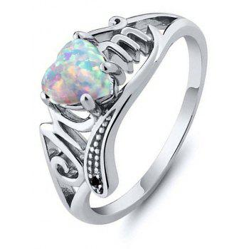 Artificial Diamond Heart Ring - PASTEL BLUE US SIZE 7