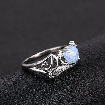 Artificial Diamond Heart Ring - PASTEL BLUE US SIZE 8