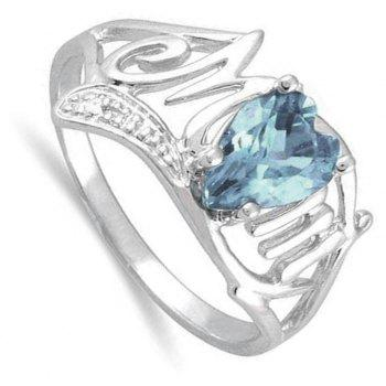 Artificial Diamond Heart Ring - DEEP SKY BLUE US SIZE 11
