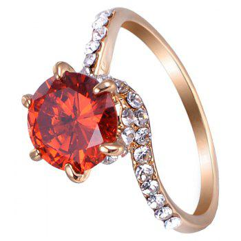 Six - Claw Artificial Diamond Round Ring - RED US SIZE 6