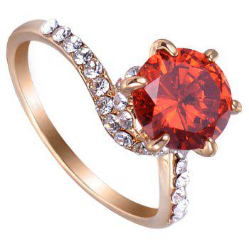 Six - Claw Artificial Diamond Round Ring - RED US SIZE 8