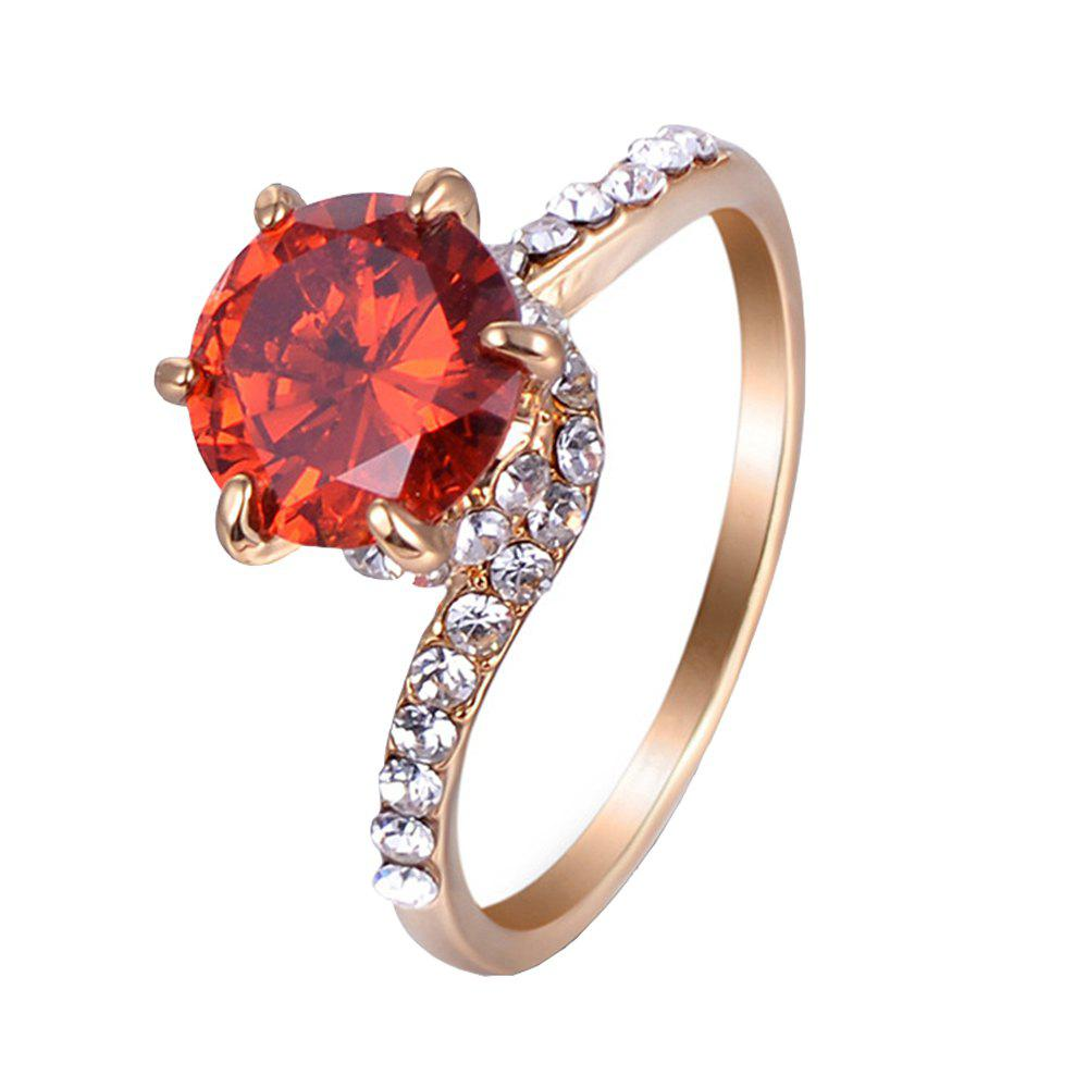 Six - Claw Artificial Diamond Round Ring - RED US SIZE 9