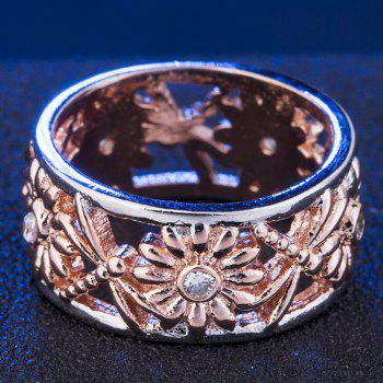 Fashion Sunflower Carved Openwork Ring - CHAMPAGNE US SIZE 7