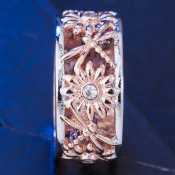 Fashion Sunflower Carved Openwork Ring - CHAMPAGNE US SIZE 9