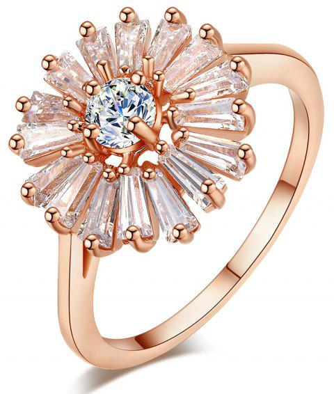 Fashion Chrysanthemum Micro Diamond Ring - BLANCHED ALMOND US SIZE 9