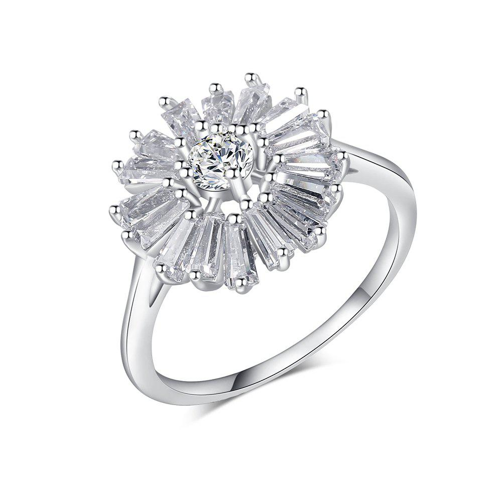 Fashion Chrysanthemum Micro Diamond Ring - WHITE US SIZE 8