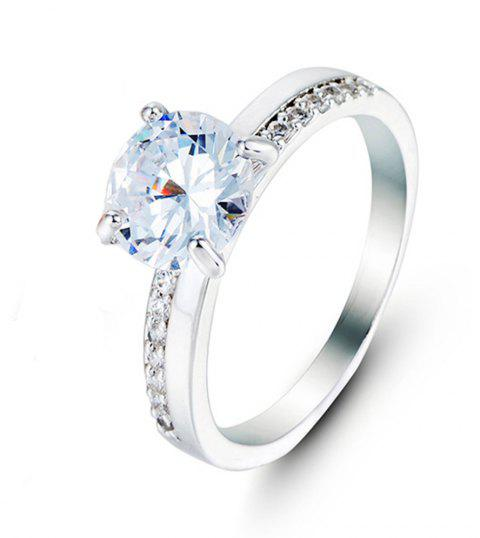 Crystal Micro Artificial Diamond Ring - WHITE US SIZE 9