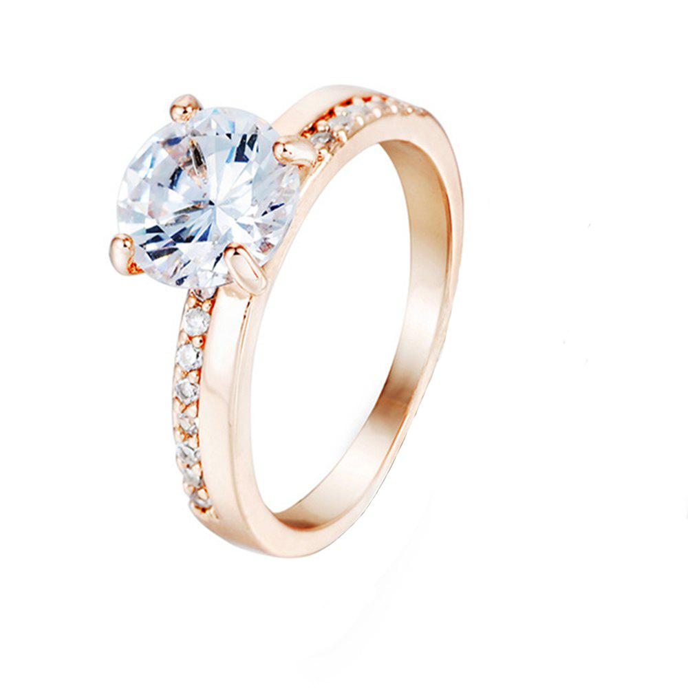 Crystal Micro Artificial Diamond Ring - PEACH US SIZE 8