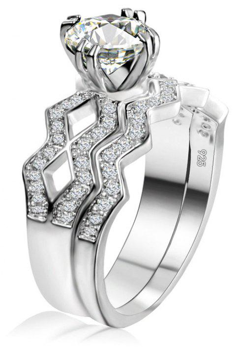 Artificial Diamond Couple Ring - WHITE US SIZE 9