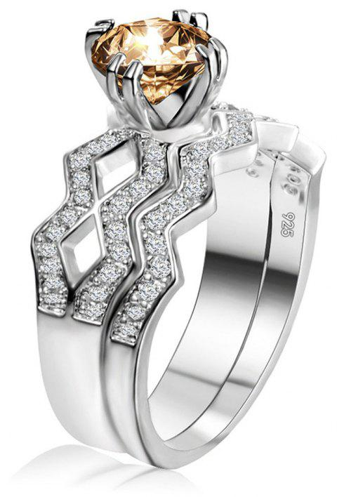 Artificial Diamond Couple Ring - YELLOW US SIZE 7