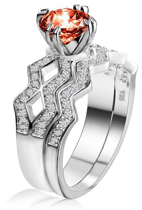 Artificial Diamond Couple Ring - RED US SIZE 7