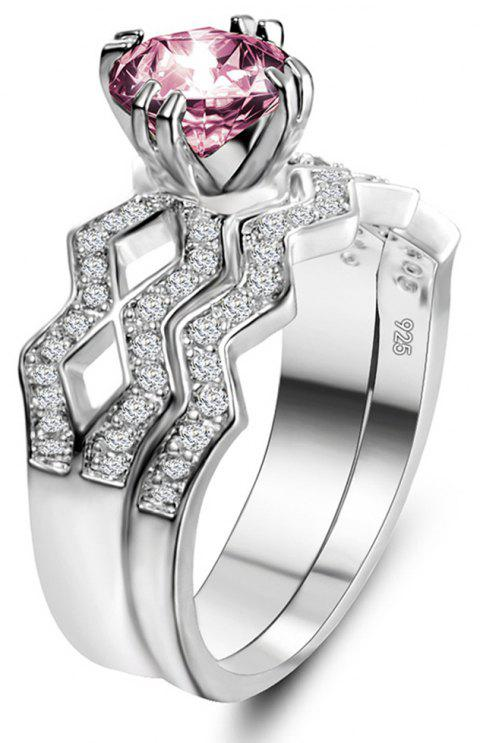 Artificial Diamond Couple Ring - PINK US SIZE 7