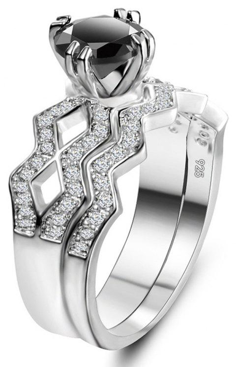 Artificial Diamond Couple Ring - BLACK US SIZE 9
