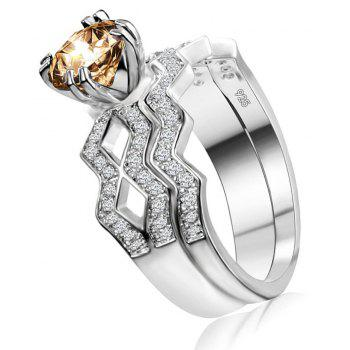 Artificial Diamond Couple Ring - YELLOW US SIZE 8