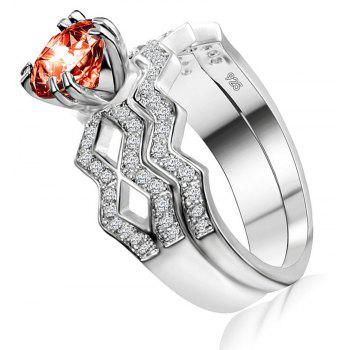 Artificial Diamond Couple Ring - RED US SIZE 6
