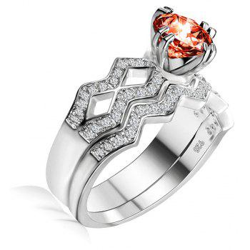 Artificial Diamond Couple Ring - RED US SIZE 8
