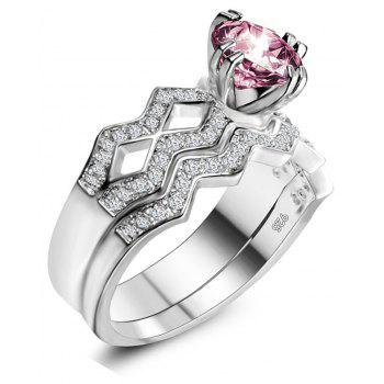 Artificial Diamond Couple Ring - PINK US SIZE 9
