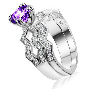 Artificial Diamond Couple Ring - PURPLE US SIZE 8