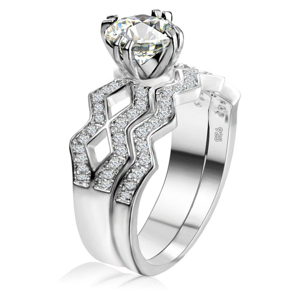 Artificial Diamond Couple Ring - WHITE US SIZE 8