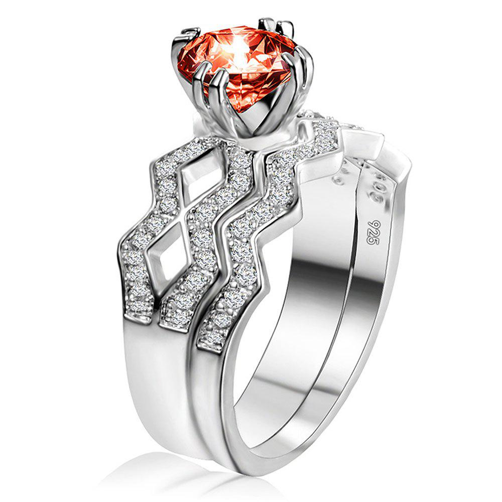 Artificial Diamond Couple Ring - RED US SIZE 9