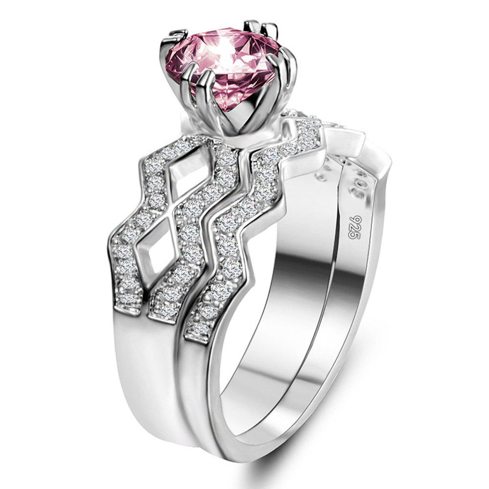 Artificial Diamond Couple Ring - PINK US SIZE 6