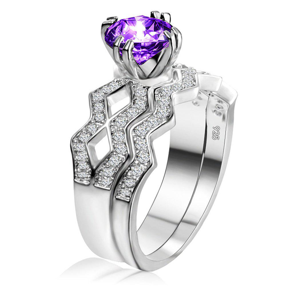 Artificial Diamond Couple Ring - PURPLE US SIZE 6