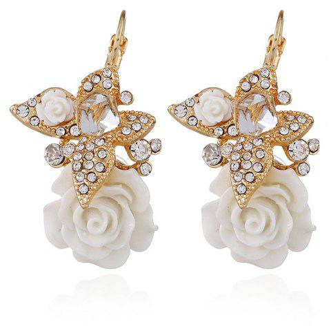 Butterfly Flower Personality National Wind Rose Earrings - WHITE