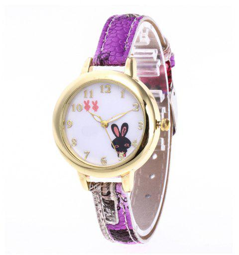 Cute Rabbit Cartoon Watch - multicolor A