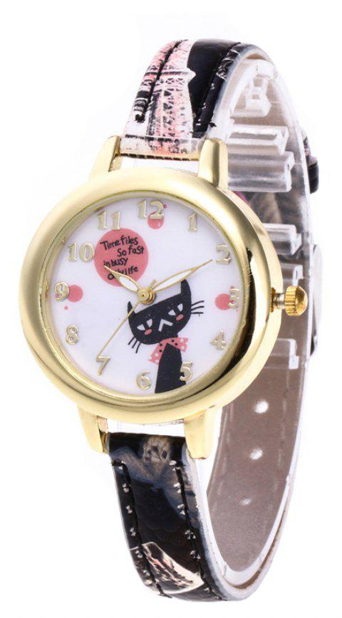 Cute Cat Cartoon Quartz Watch - multicolor E