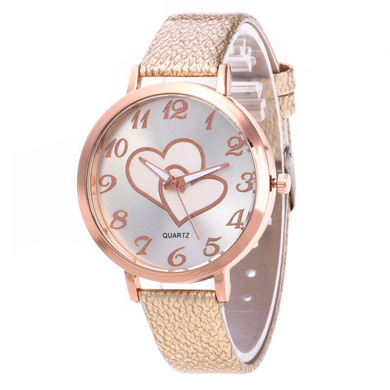 Fashion Heart Women Quartz Watch - CORNSILK