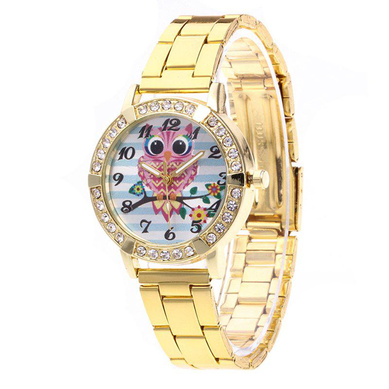 Cartoon Owl Steel Band Watch - GOLD