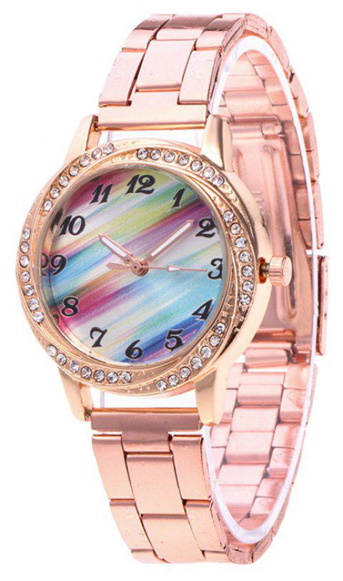 Multicoloured Stripe Steel Band Watch - ROSE GOLD