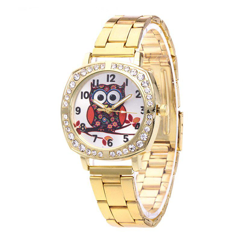 Cartoon Owl Steel with Quartz Watch - GOLD