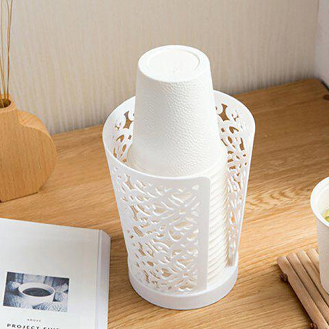 Hollow Drain Dust-Proof Hygienic Disposable Cup Storage Rack - WHITE 11X11X14.5CM