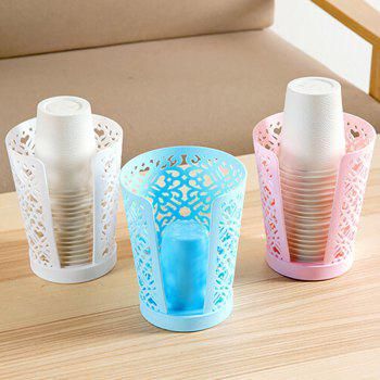 Hollow Drain Dust-Proof Hygienic Disposable Cup Storage Rack - BUTTERFLY BLUE 11X11X14.5CM