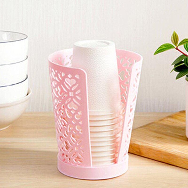 Hollow Drain Dust-Proof Hygienic Disposable Cup Storage Rack - PINK 11X11X14.5CM