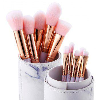 10PCS Super Cute Pink Soft Marble Pattern Makeup Brushes Tools Kit for Women - PINK