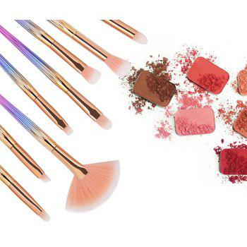 10 Colorful Shell Eye Mermaid Beauty Makeup Brushes - ROSE GOLD