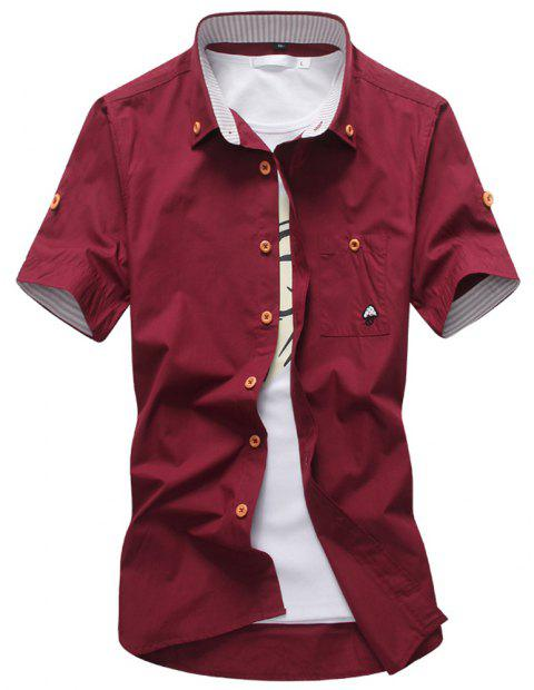 2018 New Men's Short Sleeve Slim Fashion Embroidered Mushroom Short Sleeve Shirt - RED WINE 3XL