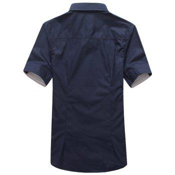 2018 New Men's Short Sleeve Slim Fashion Embroidered Mushroom Short Sleeve Shirt - MIDNIGHT BLUE 4XL