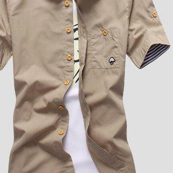 2018 New Men's Short Sleeve Slim Fashion Embroidered Mushroom Short Sleeve Shirt - LIGHT KHAKI 4XL