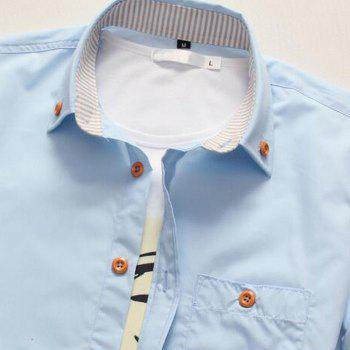 2018 New Men's Short Sleeve Slim Fashion Embroidered Mushroom Short Sleeve Shirt - DAY SKY BLUE XL