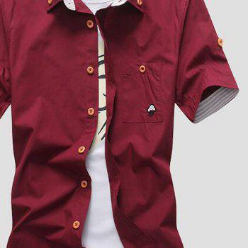 2018 New Men's Short Sleeve Slim Fashion Embroidered Mushroom Short Sleeve Shirt - RED WINE L