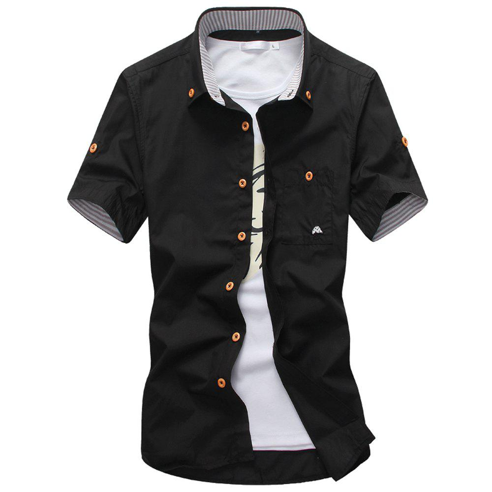 2018 New Men's Short Sleeve Slim Fashion Embroidered Mushroom Short Sleeve Shirt - BLACK 4XL