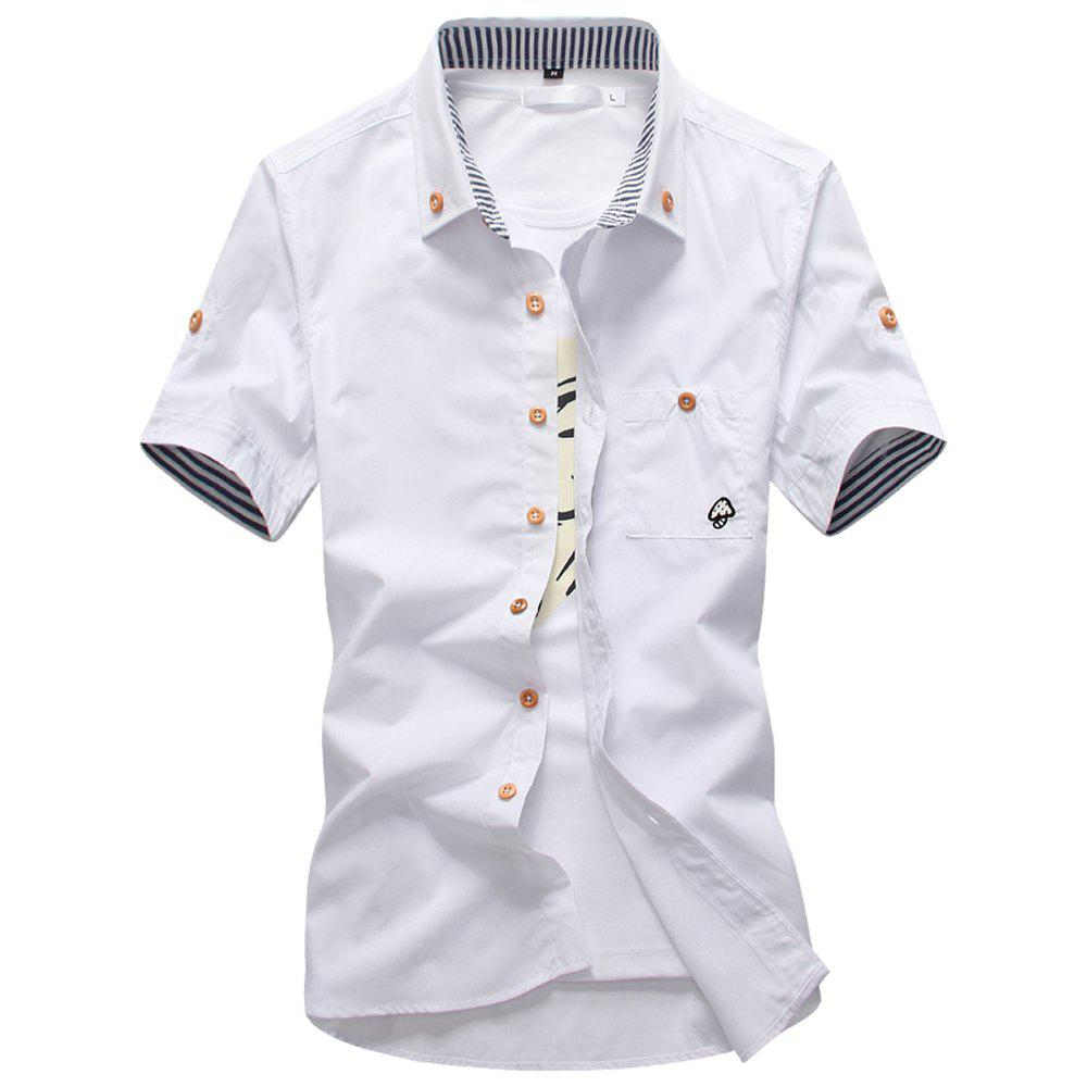 2018 New Men's Short Sleeve Slim Fashion Embroidered Mushroom Short Sleeve Shirt - WHITE 3XL