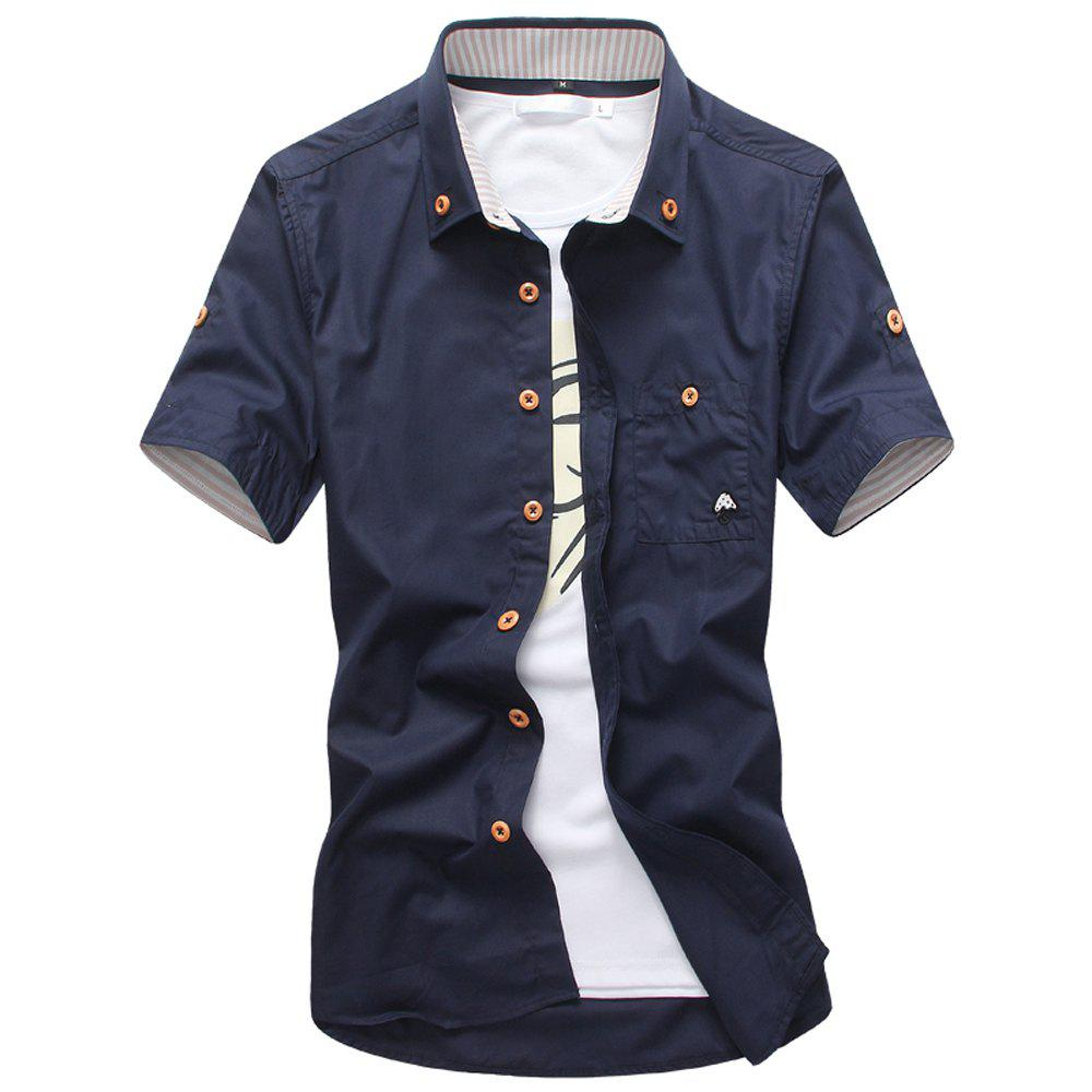 2018 New Men's Short Sleeve Slim Fashion Embroidered Mushroom Short Sleeve Shirt - MIDNIGHT BLUE 2XL