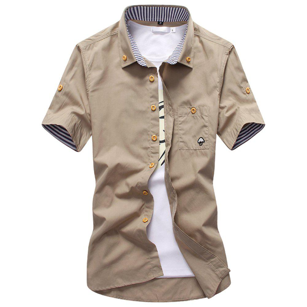 2018 New Men's Short Sleeve Slim Fashion Embroidered Mushroom Short Sleeve Shirt - LIGHT KHAKI L