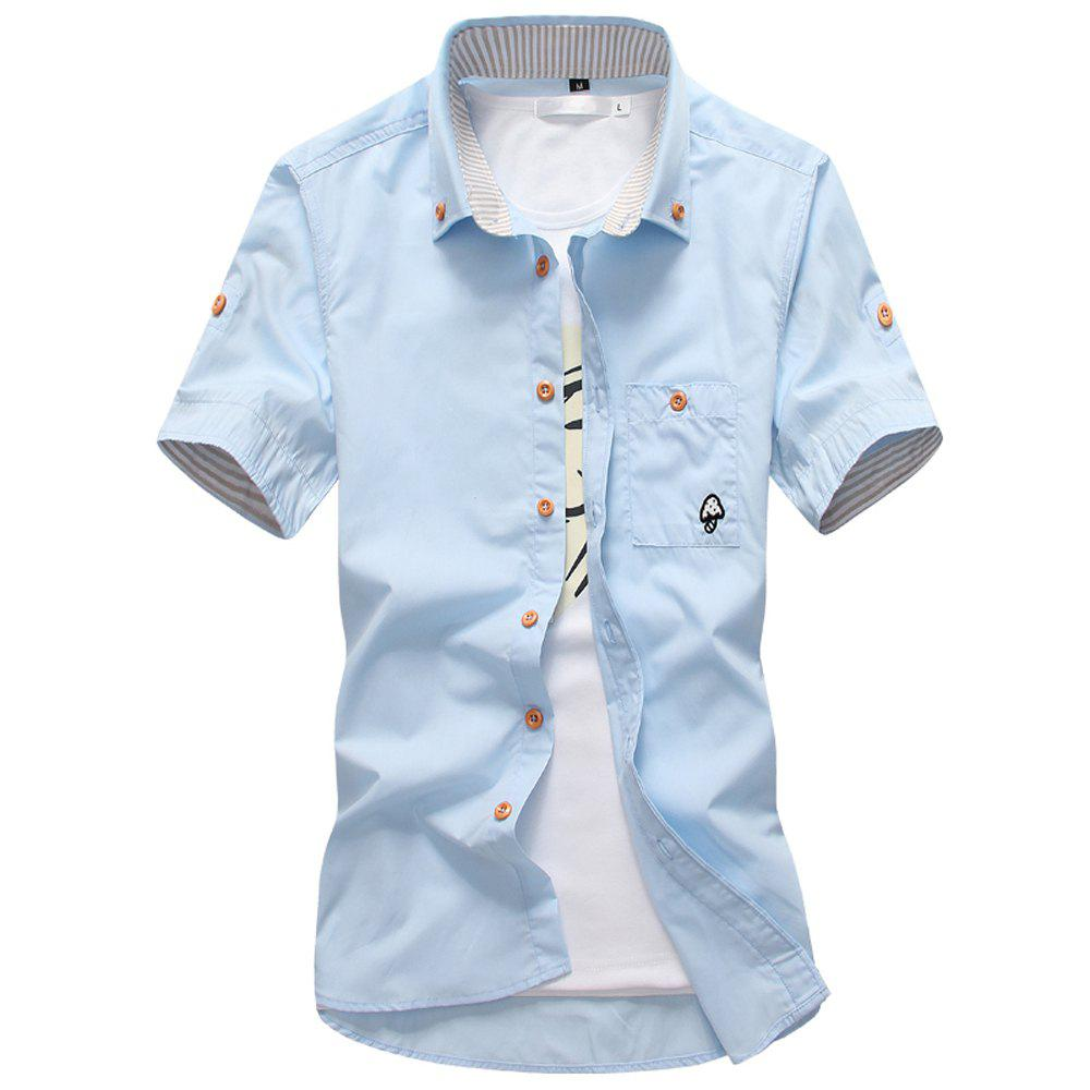 2018 New Men's Short Sleeve Slim Fashion Embroidered Mushroom Short Sleeve Shirt - DAY SKY BLUE L